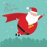 De grappige uitstekende prentbriefkaar van KerstmisSantaMan Stock Foto's