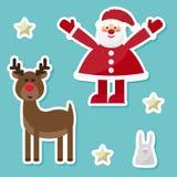De grappige vakantie van de beeldverhaalwinter die met leuke Santa Claus, konijn wordt geplaatst, royalty-vrije illustratie