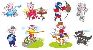 De grappige varkens in verschillende rollen en stelt stock fotografie