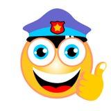 De grappige vector van het emoticonbeeldverhaal met politiehoed op witte achtergrond royalty-vrije illustratie