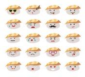 De grappige vectorreeks van sushikarakters royalty-vrije illustratie