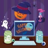 De grappige vlakke Affiche van Beeldverhaal Gelukkige Halloween Vector illustratie Royalty-vrije Stock Foto