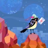 De grappige vogel in een groene hoed met een envelop in zijn bek bevindt zich op de rotsen tegen de achtergrond van een grote sta vector illustratie
