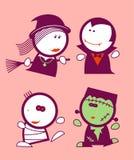 De grappige volkeren van Halloween. Stock Afbeeldingen