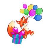 De grappige vos die op ballons vliegen geeft een doos met giften Royalty-vrije Stock Foto's