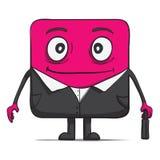 De grappige zakenman van de kubuskerel in kostuum. Vierkant Stock Fotografie