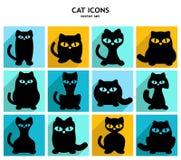 De grappige Zwarte vectorinzameling van Kattenpictogrammen Royalty-vrije Stock Foto's
