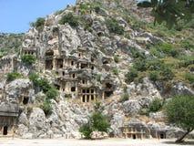 De graven van Antient in kekova Turkije royalty-vrije stock foto's