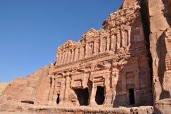 De graven van het paleis in Petra Jordanië Royalty-vrije Stock Foto