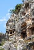 De graven van Lycian Stock Afbeeldingen
