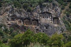 De graven van Lycian dichtbij Dalyan, Turkije Stock Fotografie