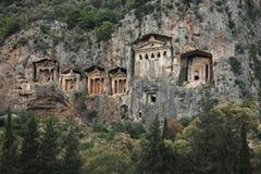 De Graven van Lycian, Kaunos, Turkije stock afbeeldingen
