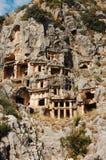 De graven van Lycian in Myra Stock Foto's