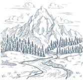 De gravure van de bergenrivier In openlucht reis, bergavonturen en uitstekende hand getrokken het landschapsvector van slangrivie vector illustratie