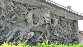 De gravure van de zijaanzichtsteen van Draak het zoemen stock video