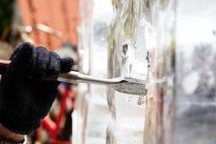 De Gravure van het ijsbeeldhouwwerk royalty-vrije stock fotografie