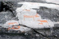 De gravures van de rots in Alta, Noorwegen Royalty-vrije Stock Foto's