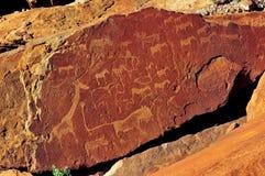 De gravures van de rots in Twyfelfontein, Namibië royalty-vrije stock afbeeldingen