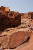 De Gravures van de rots in Twyfelfontein, Namibië Stock Afbeeldingen