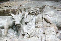 De Gravures van de Rots van Dazu stock afbeeldingen