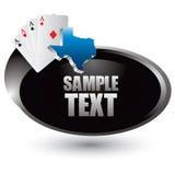 De greep em speelkaarten van Texas op zilveren swooshpictogram Royalty-vrije Stock Afbeelding