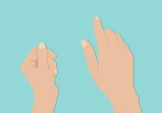 De greep en de aanrakingstabletpc van vrouwenhanden op turkooise achtergrond vector illustratie