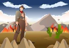 De greep van de avonturiercowboy ranselt in het branden van prairie stock illustratie