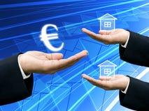 De greep van de investeerder het Euro geld voor bouwnijverheid royalty-vrije stock afbeelding