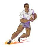 De greep van de rugbyspeler rugby en het lopen Stock Afbeeldingen