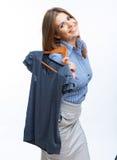 De greep vrijetijdskleding van het vrouwenportret Stock Foto