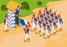 De grenadiers van Napoleon, Franse militairen 19st eeuw stock illustratie