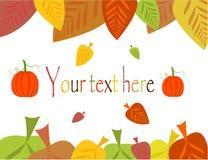 De grens van de herfst met bladeren en pompoen Royalty-vrije Stock Afbeeldingen