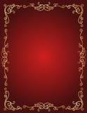 De grens van de huwelijksuitnodiging in rood en gouden Stock Afbeelding