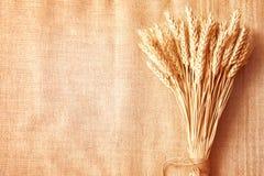 De grens van de Oren van de tarwe op de exemplaar-ruimte van de Jute background Royalty-vrije Stock Afbeeldingen
