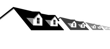 De Grens van de Rijtjeshuizen van het huis met de Vensters van het Dak van de Koekoek Stock Afbeeldingen