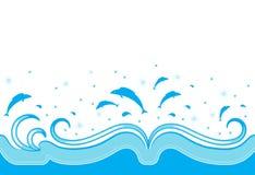 De grens van golven en van vissen Stock Foto's