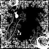 De grens van Grunge met gestileerde bloemenelementen Stock Foto's