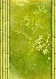 De grens van het bamboe en bloemenachtergrond Royalty-vrije Stock Afbeelding