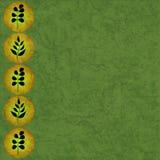 De grens van het blad op groene textuur Stock Afbeeldingen