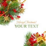De grens van Kerstmis - groen tak, sterren en decor Stock Fotografie