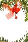 De grens van Kerstmis met pijnboomboom Stock Afbeeldingen