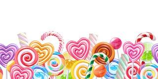 De grensachtergrond van het lollyssuikergoed Hard suikergoed op stok stock illustratie