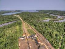 De de Grensovergangpost van Grand Portage V.S.-Canada in de Zomer stock afbeeldingen