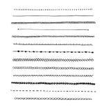 De grensreeks van de inkt hand-drawn lijn. Stock Foto's