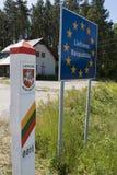 De grensteken van het land van Litouwen Stock Afbeelding
