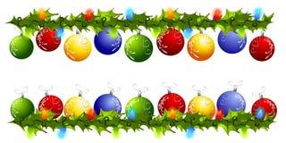 De Grenzen of de Verdelers van Swag van het Ornament van Kerstmis Stock Foto's