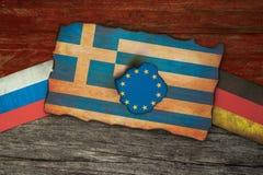 De Griekse financiële samenvatting van crisisvlaggen Stock Fotografie