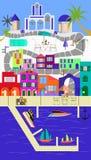 De Griekse Kleurrijke Achtergrond van Eilandsantorini Vector Illustratie
