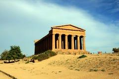 De Griekse tempel van Concordia, Agrigento - Italië Stock Foto