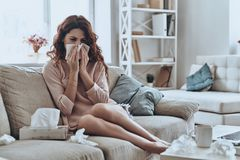 De griep doodt me! stock fotografie